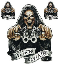Aufkleber Set Lebe jetzt zahle später Live now pay later Sticker 15x12cm Skull