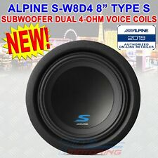 """SINGLE ALPINE S-W8D4 900 WATTS 8"""" INCHES S SERIES DUAL 4 Ohm CAR AUDIO SUBWOOFER"""