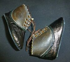 65mm BR/BK ALL LEATHER SHOES  for ANTIQUE DOLL , DOLL CLOTHING, SHOES,