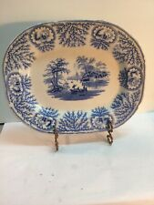 Antique Blue Transfer Ware Albion Platter Ridgway