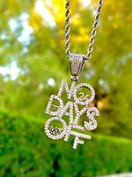 Men Women 14k Rhodium Finish Icy No Days Off Pendant Charm Rope Chain Necklace