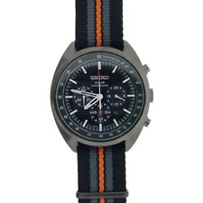 New Seiko Solar Recraft Chronograph Black Dial Nylon Strap Men's Watch SSC671