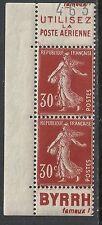 France stamps 30c SEMEUSE Advertising(BYRRH) Margin PAIR  MLH  VF