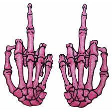 Pink Skeleton Hands Middle Finger Kreepsville Embroidered Iron On Applique Patch
