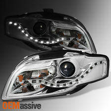 Fit 2006-2008 Audi A4 DRL LED Projector Halogen Type Both Headlights Replacement