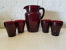 Anchor Hocking Winsor Royal Ruby Red Pitcher & 4 Tumbler Glasses