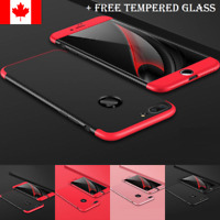 For iPhone 7 8 Plus Case - Thin Hard 360 Cover + Tempered Glass