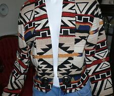 """1970-80 """"Truly Western Wear"""" Cotton Woven Cropped Western Folkloric Jacket M"""