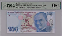 Turkey 100 Lira 2009 P 226 C Superb Gem UNC PMG 68 EPQ Top Pop
