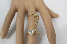 Gold Metal Heart Rhinestones Size 8 New Women Long Twisted Fashion Ring Silver