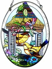 """AMIA STAINED GLASS SUNCATCHER 5.5"""" X 7"""" OVAL HOMING GOLDFINCHES BIRDHOUSE #41365"""