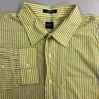 Arrow Dress Shirt Mens 2XL Yellow Blue Long Sleeve Striped Wrinkle Free Business