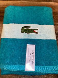 "Lacoste ~ Teal Bath Towel 100% Cotton 30"" x 52"" Big Crocodile Logo"
