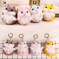 Cute Plush Furry Hamster Keychain Keyring Women Handbag Charm Pendant Decor 67UK