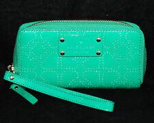 KATE SPADE WLRU1446 Jazzy Metro Spade Green Patent Leather Zip Wristlet Wallet