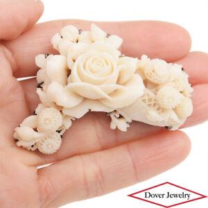 Estate Carved Coral 10K Gold Sterling Silver Floral Brooch Pin 32.9 Grams NR