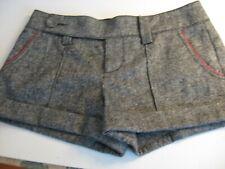 Bebe Shorts Gray Woven Wool Silk Poly Blend Red Trim Dressy Sz 4 Waist 31 Lgt 10