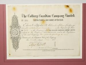 1891 Colliery Guardian Co. £10 Shares Certificate No. 353 Mounted Embossed #SC