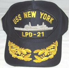 US NAVY CAP ORIGINAL USS NEW YORK LPD-21 Made in USA Double Eggs One size