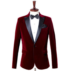 Men Velvet Peak Lapel Suit Jacket Tops Single Breasted Blazer Tunic Coat Formal