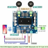 Bluetooth 5.0 Digital Amplifier Board 2x100W Stereo Audio Amp Module TF Card Aux