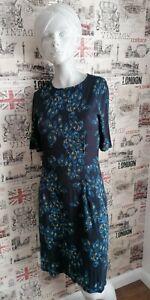 JIGSAW Women's Navy Blue Floral Jersey Dress Size S 8-10 UK