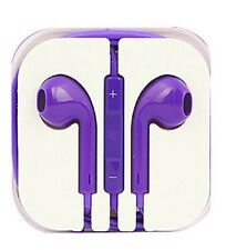 New Purple Colour Headphones Earphone Handsfree With Mic For iPhone Models