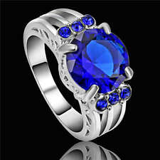 Size 6 Blue Sapphire Crystal Ring Women's White Rhodium Plated Wedding Band
