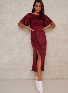 Chi Chi London Fridia Midi Short Sleeve Dress Burgundy Elegant UK Size 12
