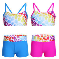 Kids Girls Heart-Shaped Tankini Sets Swimsuit Swimwear Two Piece Bathing Suit
