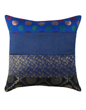 "16"" Blue Silk Brocade Cushion Cover Ethnic Indian Boho Decor Throw Pillow"