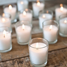 72 Clear Glass Wedding Function/Party/Cafe/Table/Votive Candle Holder White Wax