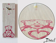 Child Hand Draw of a Teddy Bear Engraved Wood - Wall Clock