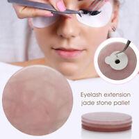 Pink Jade Stone False Eyelash Glue Adhesive Pallet Round Eyelash Extension Tool
