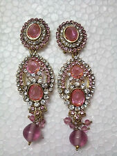 Indian Bridal Gold Plated Pink Kundan CZ Polki Jhumka Dangel Chandelier Earrings