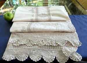 Vintage 70s Cotton Banquet Tablecloth Crochet Needle Lace Inserts Gray Embroider