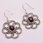 925 Solid Sterling Silver Earrings, Natural Garnet Handcrafted Jewelry CE736