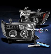 2007-2013 TUNDRA/2008-2015 SEQUOIA HALO LED BLACK PROJECTOR HEAD LIGHT+BLUE DRL