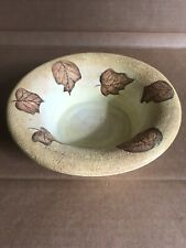 Handcrafted Painted Yellow Heavy Pottery Bowl Leaves Fall Harvest Dubois Designs