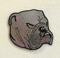 Angry Bulldog Art Badge Iron on Sew on Embroidered Patch