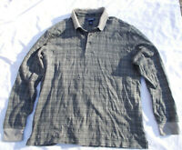 Lands End L Mens Gray Check Traditional Fit Long Sleeve Supima Gray Check Polo
