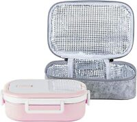 Stainless Steel Leakproof Bento Lunch Box/Metal Food Container (22Oz, Pink)