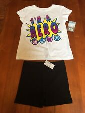 Girls Outfit Disney I'm A Hero Top W/ Children Place Skate Shorts Size M 7/8 NWT