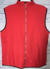 Izod Polar Fleece Vest Jacket Red Mens Size Large L Full Zip NWT - MSRP $40
