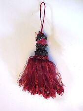 Dark Pink Burgundy Beaded Ribbon Tassel Designer Christmas Ornament Decoration