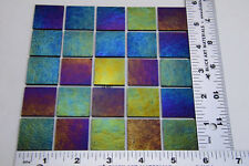 "0100.51 - 25 Black Iridized 1"" x 1"" Bullseye Thin Glass Bases Backs 90 Coe"