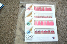 NEW Lot (4) RETIRED Color Street Sets GLITTER ART- Valentines Hearts Pink
