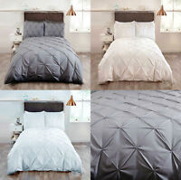 Balmoral Pleated Pintuck Duvet Cover/Quilt Cover Set Bedding Cream/Grey/White