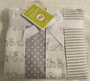 Circo Zoo Receiving Blankets Animals Gray White Dot Stripe Flannel NEW 4-pack