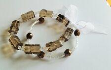 Smokey Quartz coloured beads Stretchy Bracelet Duo